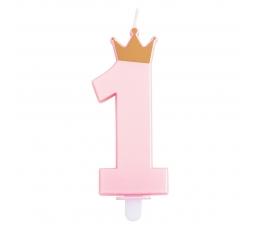 """Свечка """"1 с короной"""", розовая"""