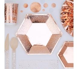 Тарелки, цвета розового золота с белыми точками (8 шт/ 20 см)