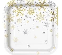 """Тарелочки """"Блестящие снежинки"""", квадратные (8 шт/ 17 см)"""