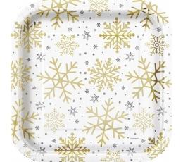 """Тарелочки """"Блестящие снежинки"""", квадратные (8 шт/ 22 см)"""