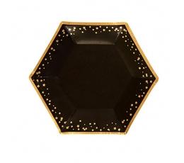 Тарелочки, черные с золотистыми звездочками (8 шт)
