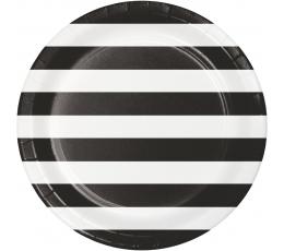Тарелочки, черно-белые в полоску (8 шт/ 22 см)