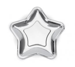 """Тарелочки, форменные """"Звездочки"""", серебряные (6 шт/ 23 см)"""