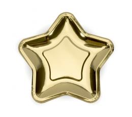 """Тарелочки, форменные """"Звездочки"""", золотые (6 шт/ 23 см)"""