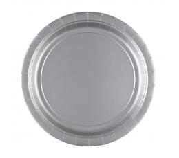 Тарелочки , серебряные (8 шт./22 см)