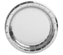 Тарелочки, серебряные блестящие (8 шт/ 18 см)