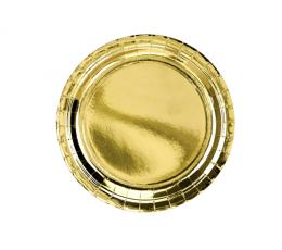 Тарелочки, золотые блестящие (6 шт/ 23 см)