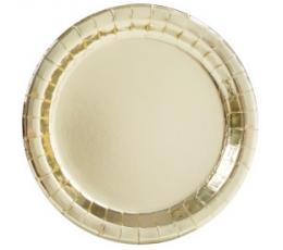 Тарелочки, золотые блестящие (8 шт/ 22 см)