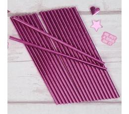 Трубочки, розовый блестящие (25 шт)