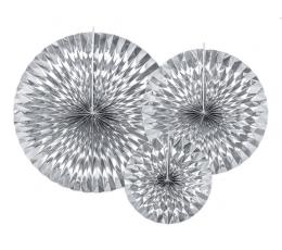Вееры, серебряные блестящие (3 шт)