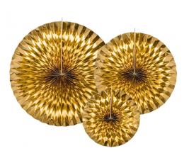 Вееры, золотые блестящие (3 шт)