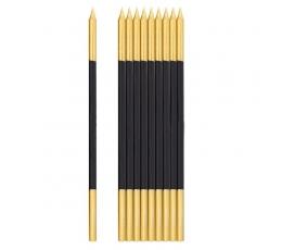 Свечки, черный с золотом (10 шт/ 15 см)