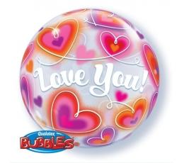 """Caurspīdīgs (bubble) balons """"Sirdis - Love youi"""" (56 cm)"""