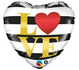 "Folija balons ""Melnbalta sirds - LOVE"" (46 cm)"