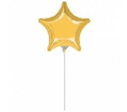 """Folija balons uz nūjiņas """"Zelta zvaigzne"""" (23 cm)"""