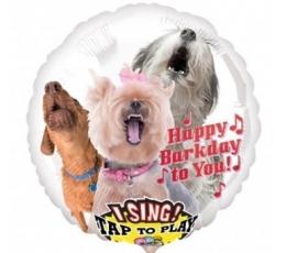 """Folija balons """"Dziedošie sunīši"""", ar skaņu (71 cm)"""