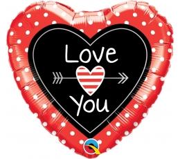 """Folija balons """"Sarkana - melna sirds"""" (46 cm)"""