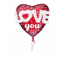 "Folija balons ""Sirds - Love you"" (91 x 91 cm)"