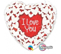 "Folija balons - sirds ""I love you"" (91 cm)"