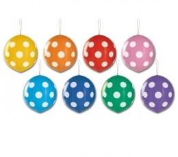 Krāsaini baloni ar baltiem punktiņiem, ar gumiju (3 gab. / 43 cm)