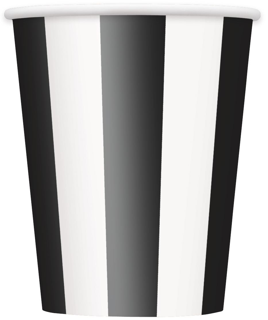 Glāzītes, melnbaltas svītras (8 gab/ 355 ml)
