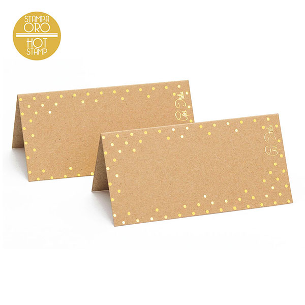 Vārda kartiņs, kraft ar zelta maliņu (10gab)