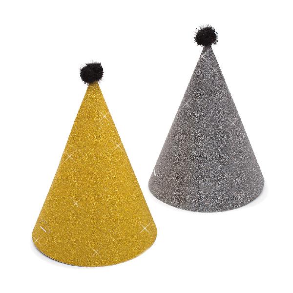 Cepurītes, zelta-tumši pelēkas, spīdīgas (6 gab)