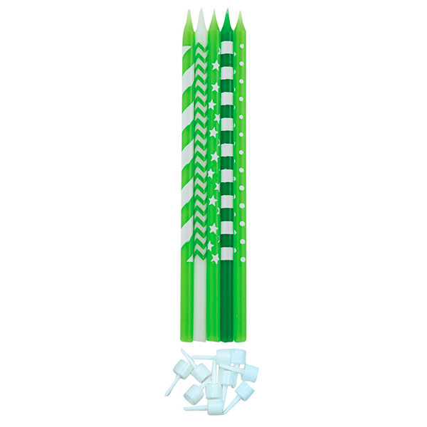 Svecīšu kompletks, zaļš-balts (10 gab/ 15,5 cm)