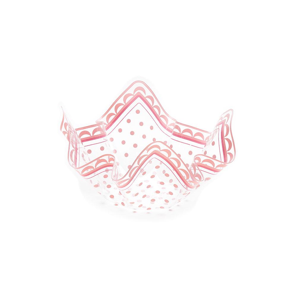 Plastmasas bļodiņa ar rozā punktiem ( 7 x 13 cm)