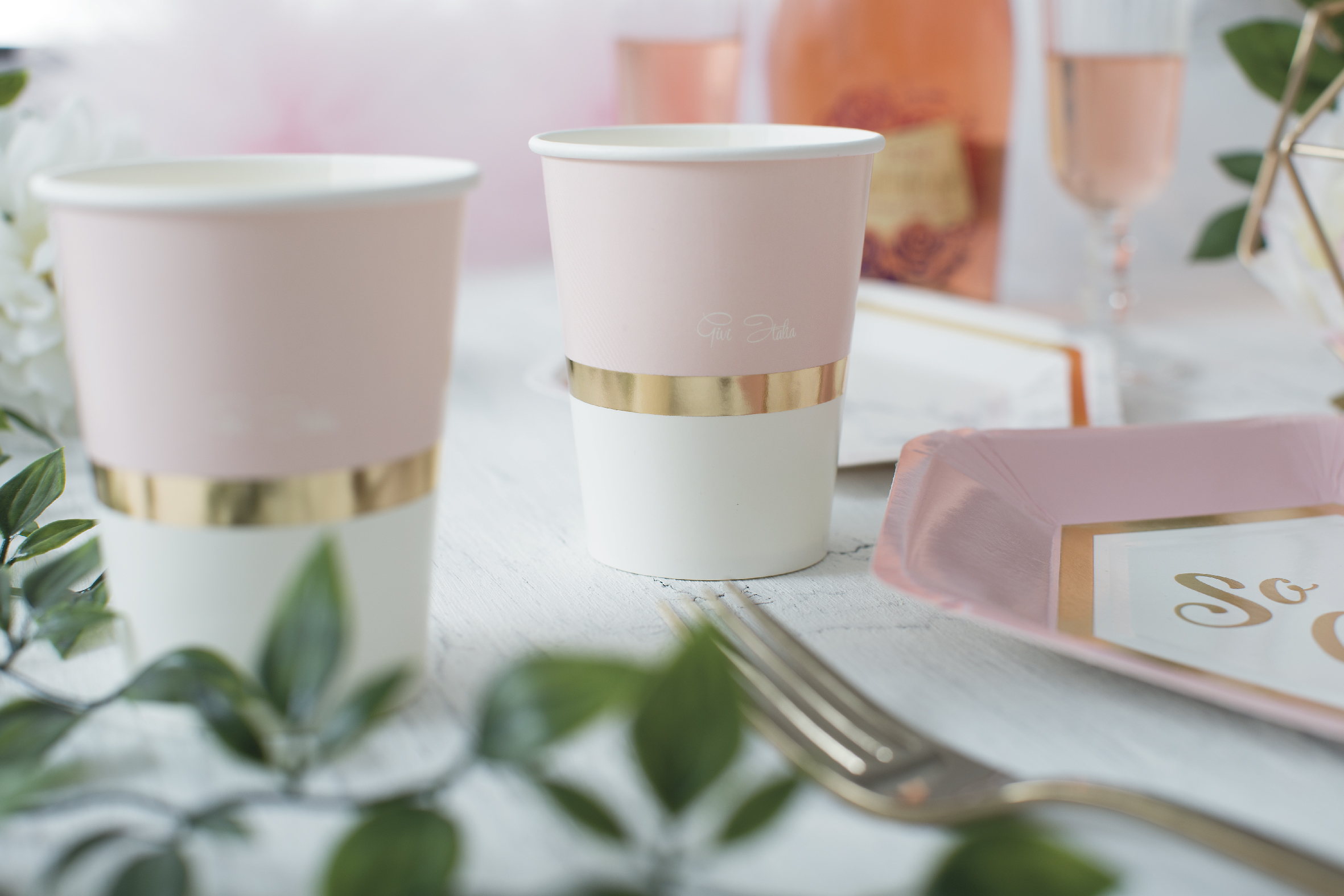 Glāzītes, rozā ar zelta maliņu (8 gab/ 250 ml)