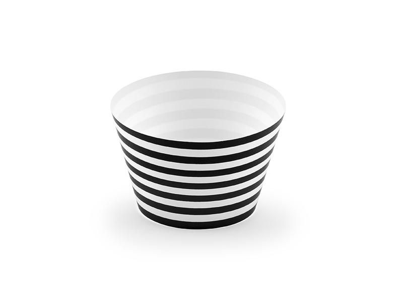 Kēksiņu dekorācijas, melnbaltas-svītrainas (6 gab)