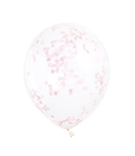 Caurspīdīgi baloni ar rozā konfettī (6 gab/ 30 cm)