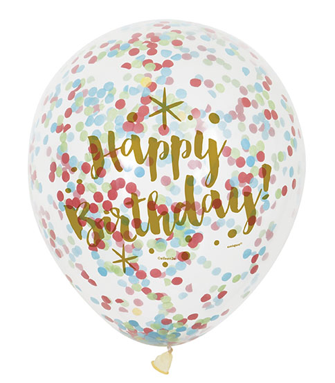 "Baloni ""Happy Birthday"", caurspīdīgi baloni ar krāsainiem konfettī (6 gab/ 30 cm)"