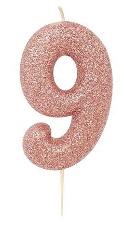 """Svecīte """"9"""", rozā zelta"""