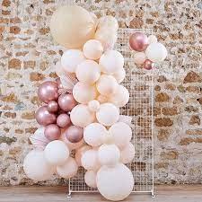 "Balonu vītnes arka ""DIY"", persiku - rozā - zelta, ar dekoratīvām lapām (70 baloni)"