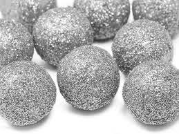 Bumbiņu rotājumi, sudraba (9 gab. / 3 cm)