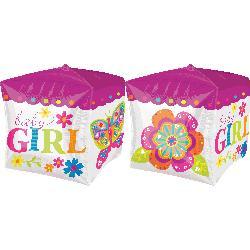 "Folija balons kubs ""Baby girl"", rozā (38 cm)"