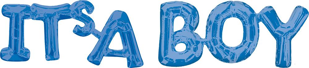 """Folija balons - uzraksts """"Its'a boy"""", zils (100 x 22 cm)"""