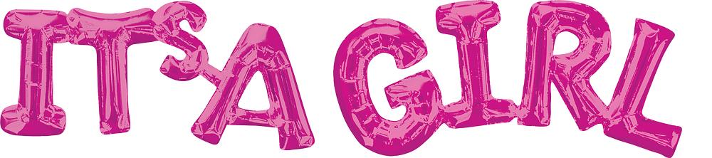 """Folija balons - uzraksts """"Its'a girl"""", rozā (100 x 22 cm)"""