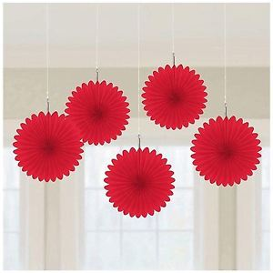 Karināmas dekorācijas, sarkani vēdekļi (5 gab)