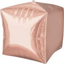 Фольгированный шарик, куб- розовое золото (38 см)