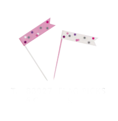 Декоративные шпажки - флажки, розовые -серые (6 шт)