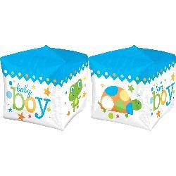 """Фольгированный шарик-куб """"Baby boy"""" синий (38 см)"""