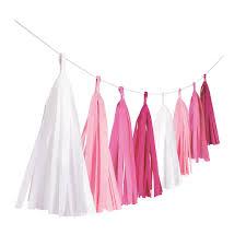 Гирлянда бумажными кисточками, белая - розовая (3 м)