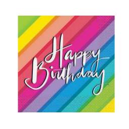 """Салфетки """"Радуга. Happy Birthday """" (16 шт)"""